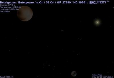 Pluto, Charon and the Sun, and the bright star in the middle, Betelgueuse